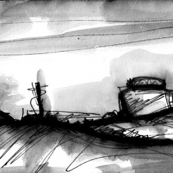 NIEMANDSLAND. NO MAN'S LAND. 2008. ink and charcoal on paper. 33 x 24 cm. drama illustration