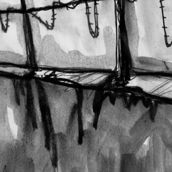 DIE MAUER. THE WALL. 2008. ink and charcoal on paper. 33 x 24 cm. drama illustration