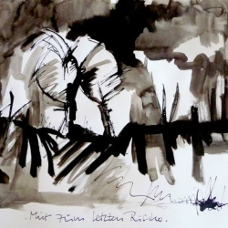 MUT ZUM LETZTEN RISIKO/COURAGE TO FACE THE LAST RISK. 2010. ink and ink brush on handmade paper. 42 x 30 cm