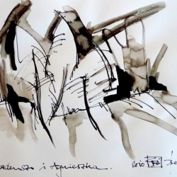 THADEUSZ i AGNIESZKA. 2010. ink and ink brush on handmade paper. 42 x 30 cm