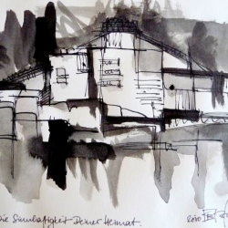 DIE SINNHAFTIGKEIT DEINER HEIMAT/THE SENSE OF YOUR HOME. 2010. ink and ink brush on handmade paper. 30 x 21 cm