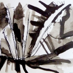 IM FRIEDVOLLEN HINTERLAND/AT THE PEACEFUL HINTERLAND. 2009. ink and ink brush on handmade paper. 30 x 21 cm