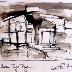 SIEBEN TAGE REGEN/SEVEN DAYS RAIN. 2009. ink and ink brush on handmade paper. 30 x 21 cm