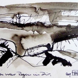 DA WAR REGEN IN DIR/RAIN INSIDE YOU. 2009. ink and ink brush on handmade paper. 30 x 21 cm