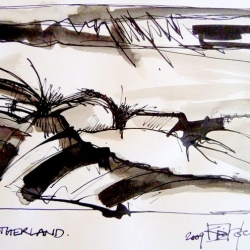 FATHERLAND/VATERLAND. 2009. ink and ink brush on handmade canvas. 30 x 21 cm