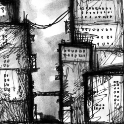 ZERO. 2008. ink and charcoal on paper. 18 x 12 cm. drama illustration