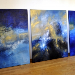 HOME TO THE GOLDEN SHORES I BELONG. triptych 2017. 310 x 120 cm