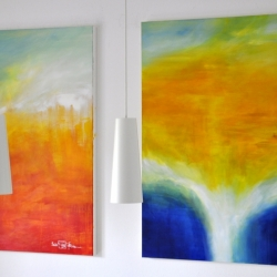 ARRIVAL OF THE UNSEEN ENEMY and THE LIGHT BETWEEN THE OCEANS V. 2020. each 120 x 100 cm