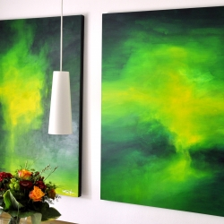 THE DARK SIDES OF YOUR EMERALD GREEN MOON. diptych 2018. 250 x 150 cm