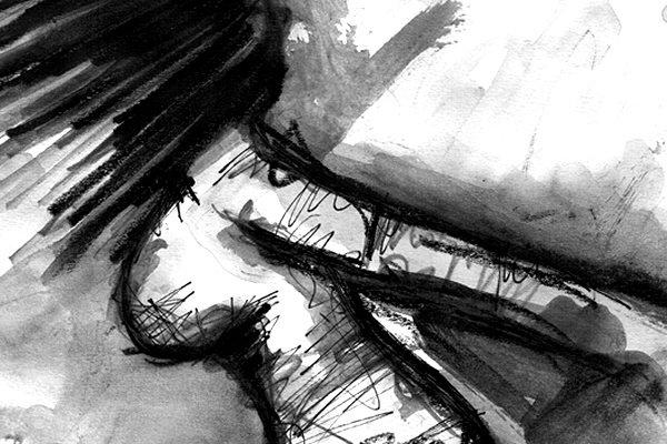 KARLA KEHRT ZURÜCK. KARLA RETURNS. 2008. graphite, ink and charcoal on handmade paper. 33 x 24 cm. drama illustration