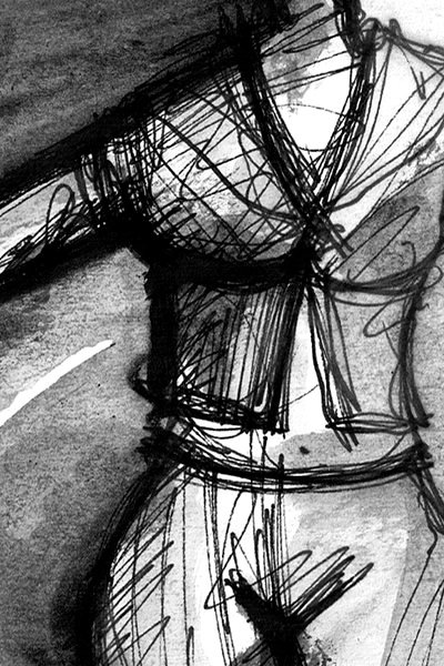 SIE. SHE. 2008. ink and charcoal on paper. 25 x 21 cm. drama illustration
