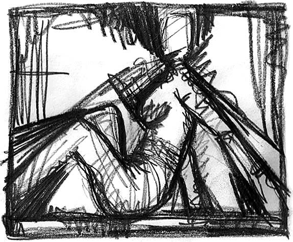 UNTER WAFFEN. IN ARMS. 2006. graphite on paper. 29 x 23 cm