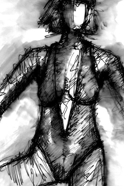 JUDITH III. 2008. ink on paper. 33 x 24 cm. drama illustration