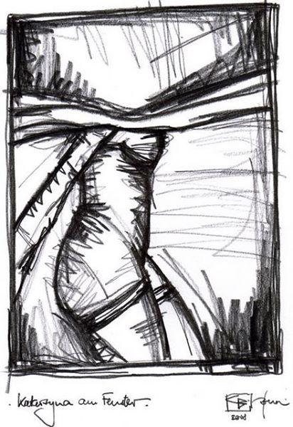 KATARZYNA AM FENSTER. KATARZYNA AT THE WINDOW. 2008. graphite on handmade paper. 35 x 29 cm