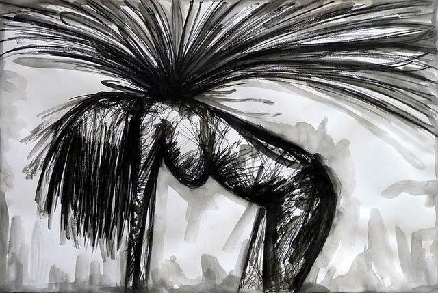 DER SONNE ENTGEGEN. TOWARDS THE SUN. 2008. ink and charcoal on handmade paper. 85 x 64 cm