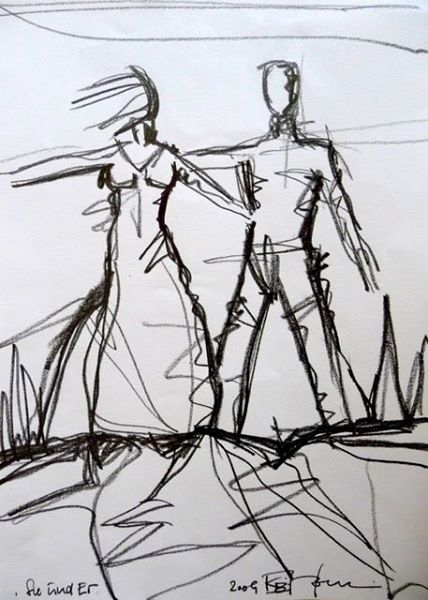 SIE UND ER/SHE AND HE. 2009. graphite on handmade paper. 30 x 21 cm