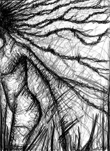 INMITTEN DER NACHT. AT DEAD OF NIGHT. 2007. graphite on paper. 33 x 21 cm