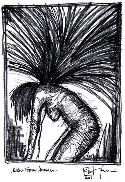 FALLEN FROM HEAVEN. 2008. graphite on handmade paper. 39 x 28 cm