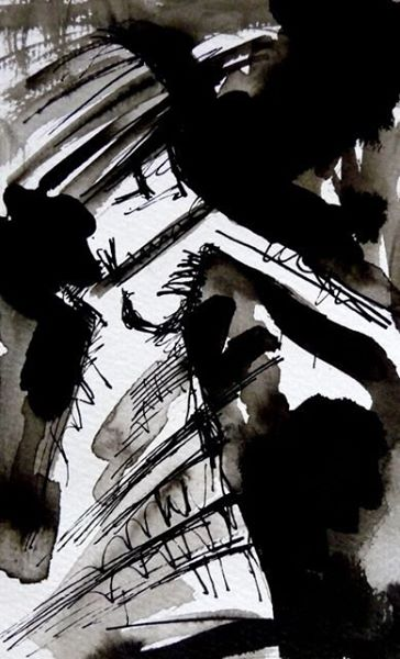 DER MOMENT, IN DEM MAN FÄLLT/THE MOMENT WHEN YOU'RE FALLING. 2009. ink and ink brush on handmade paper. 30 x 21 cm