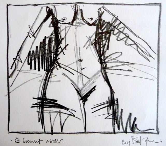 ES BRENNT WIEDER/IT'S BURNING AGAIN. 2009. graphit on handmade paper. 30 x 21 cm