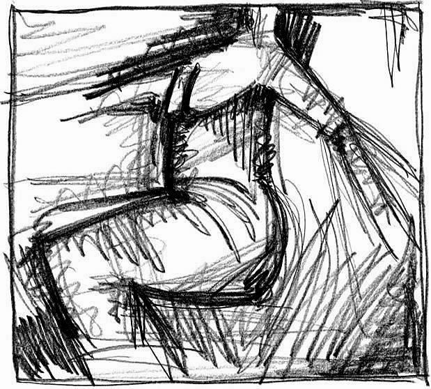 IN BEWEGUNG. IN MOTION. 2008. graphite on handmade paper. 32 x 28 cm