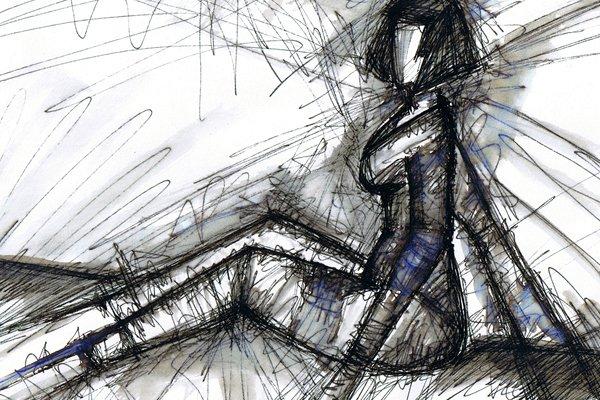 FREMD HIER. A STRANGER HERE. 2007. ink on paper. 33 x 24 cm. drama illustration