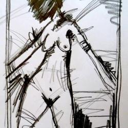 MANCHER ABSCHIED FÄLLT SCHWER/SOME FAREWELLS AREN'T EASY. 2009. graphite on handmade paper. 30 x 21 cm