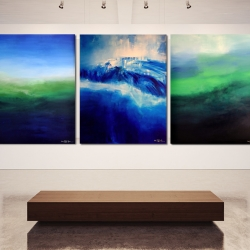IT IS ALWAYS DARKEST BEFORE THE DAWN. triptych 2016/17. 380 x 150 x 2 cm