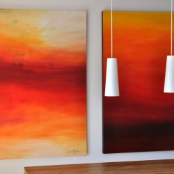FROM THE PROMISING FIRST LIGHT TO THE VERY LAST LIGHT. triptych 2020. 380 x 150 cm