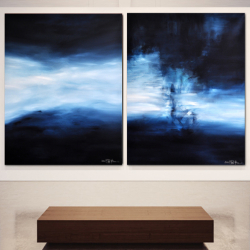 THE CALM BEFORE THE STORM. Diptych 2021. 150 x 260 cm