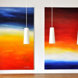THE LAST CALM DAY BEFORE THE STORM and IF I COULD LOOK BEYOND THE HORIZON. 2020. each 150 x 120 cm