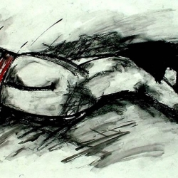 DIE FLUT. THE FLOOD. 2005. charcoal and acryl on handmade paper. 60 x 42 cm. interpretation of a Goya painting