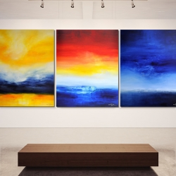 TIME IS DANCING FROM SUNSET TO SUNRISE. triptych 2017. 380 x 150 cm