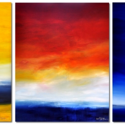 TIME IS DANCING FROM SUNSET TO SUNRISE II. triptych 2019. 380 x 150 cm