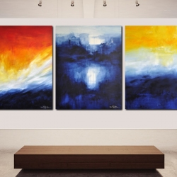 THE SLEEPLESS LONGING FOR THE DISTANT. triptych 2020. 380 x 150 cm