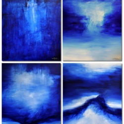 DEEP BLUE DAYS DOWN BY THE SEA. quadriptych 2019. vertical hanging: 320 x 150 cm