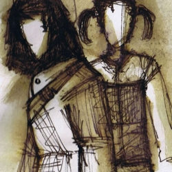 WO RAUCH IST, IST AUCH FEUER. NO SMOKE WITHOUT A FIRE. 2006. ink and charcoal on paper. 33 x 24 cm. drama illustration