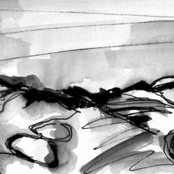 TOTER SEE. DEAD POND. 2008. ink and charcoal on paper. 23 x 18 cm. drama illustration