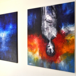 FROM FEAR TO LOVE. triptych 2013. center and right part on the wall