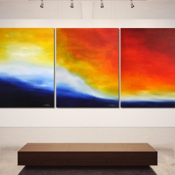 WAITING FOR YOU ON PRISTINE SHORES. triptych 2019. 380 x 150 cm