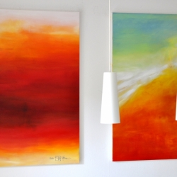 ONCE UPON A TIME (left) and ARRIVAL OF THE UNSEEN ENEMY. 2020. each 120 x 100 cm