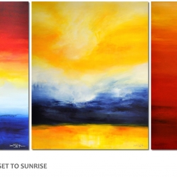 TIME IS DANCING FROM SUNSET TO SUNRISE. triptych 2016/2017. 380 x 150 cm
