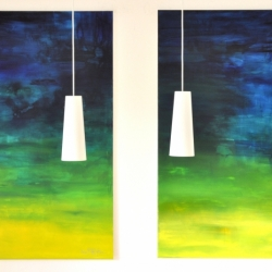 I WOKE TO THE SOUND OF RAIN I and II. 2020. each 150 x 120 cm