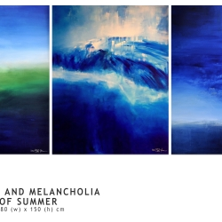 SEA AND SKY AND MELANCHOLIA AT THE END OF SUMMER. triptych 2016/17. 380 x 150 cm