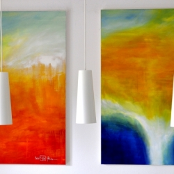 ARRIVAL OF THE UNSEEN ENEMY and THE LIGHT BETWEEN THE OCEANS V. each 120 x 100 cm. 2020