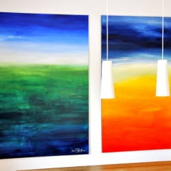 WHAT LIES BELOW THE SURFACE and THE LAST CALM DAY BEFORE THE STORM. 2020. each 150 x 120 cm