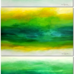 LATE IN SUMMER. triptych 2018 (three studies). horizontal hanging 120 (w) x 250 (h) x 2 cm