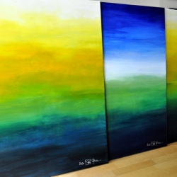MOUNTAINS MUST FALL II and III and WHEN THE NIGHT FALLS ON SACRED LAND III. 2020. each 100 x 80 cm