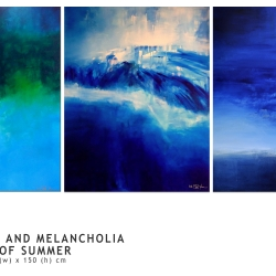 SEA AND SKY AND MELANCHOLIA AT THE END OF SUMMER. triptych 2016. 380 x 150 cm