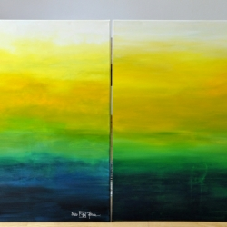 MOUNTAINS MUST FALL II and III. 2020. each 100 x 80 cm